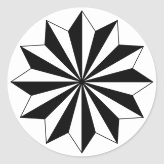 Black White 12 Star on Circle Classic Round Sticker