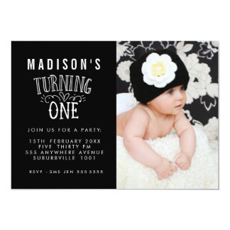 Black & White 1st Birthday Personalized Photo Card