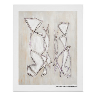 Black White Abstract, Couple for Wedding Gifts Poster