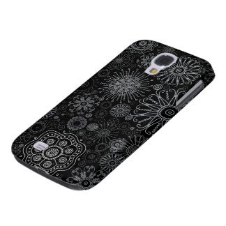 Black & White Abstract Snowflake Variety Pattern Galaxy S4 Case