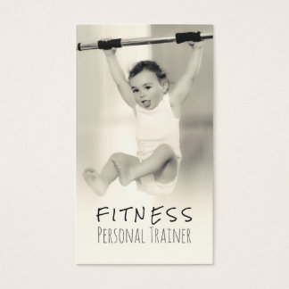 Black White Adorable Baby Fitness Personal Trainer
