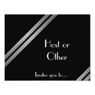 Black white and grey striped formal 11 cm x 14 cm invitation card