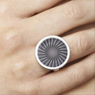 Black white and grey swirly template abstract art ring