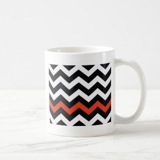 Black White And Orange Chevron Stripes Coffee Mug