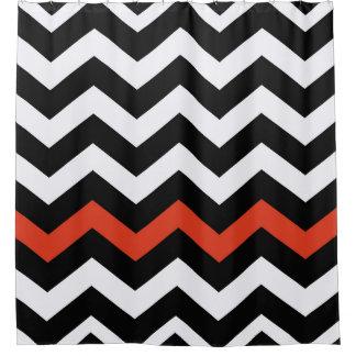 Black White And Orange Chevron Stripes Shower Curtain