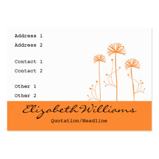 Black, White and Orange Floral Business Card Template