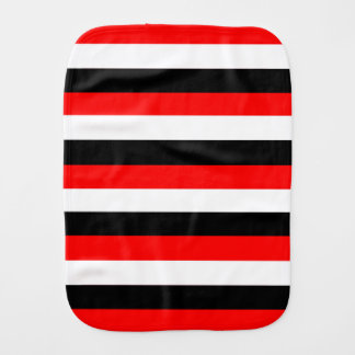 Black, White and Red Stripes burp cloth