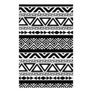 Black White Aztec Tribal Pattern Stationery