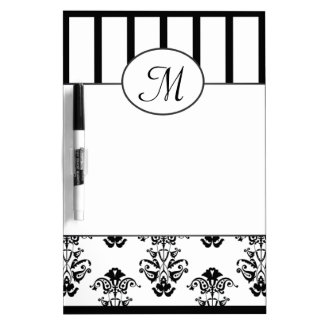 Black & White Baroque With Monogram Dry Erase Board
