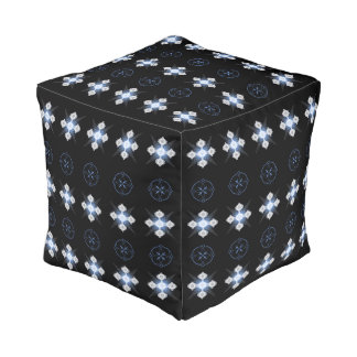 Black White Blue Celtic Crop Circle Inspired Pouf