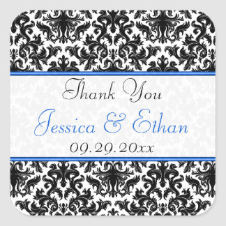 "Black White Blue Damask 1.5"" Wedding Favour Square Sticker"