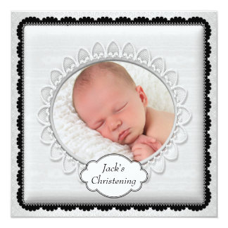 Black White Boys Photo Christening 13 Cm X 13 Cm Square Invitation Card