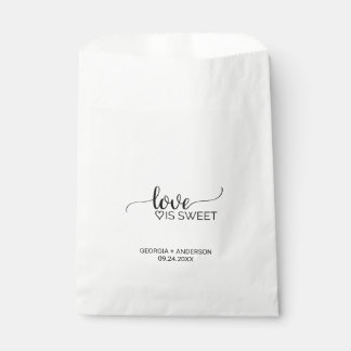 "Black & White Calligraphy ""Love is Sweet"" Wedding Favour Bags"