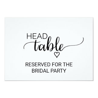 Black & White Calligraphy Wedding Head Table Sign Card