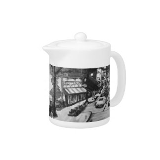 Black & White Chagrin Falls, Ohio Painting Tea Pot