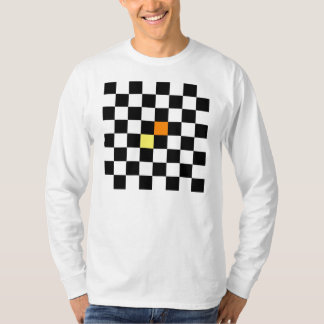 Black, White Checkerboard with Yellow Orange Color T-Shirt