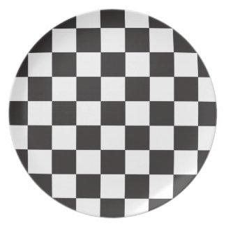 Black   White Checkered Flag Pattern Plate