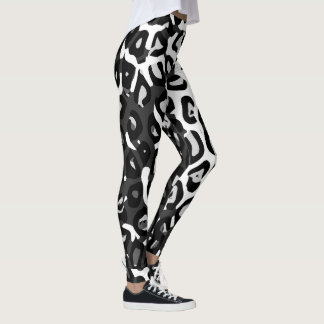 Black White Cheetah Print Womens Leggings