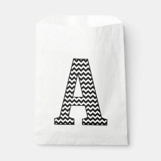 Black & White Chevron A Monogram Favor Bags Favour Bags