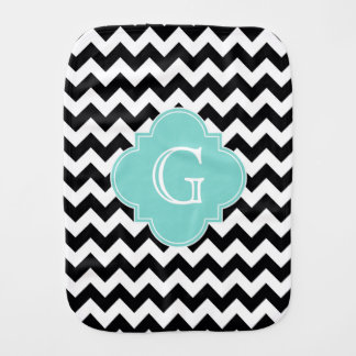 Black White Chevron Aqua Quatrefoil Monogram Baby Burp Cloth