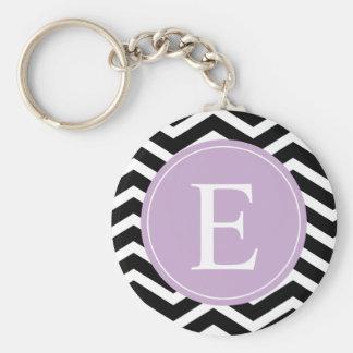 Black White Chevron Purple Monogram Key Ring