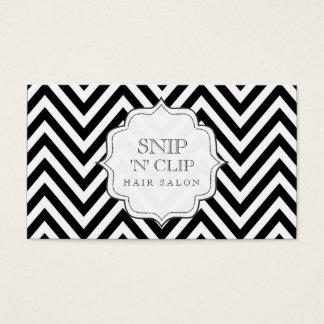 Black & White Chevron Stripes Hair Stylist Cards