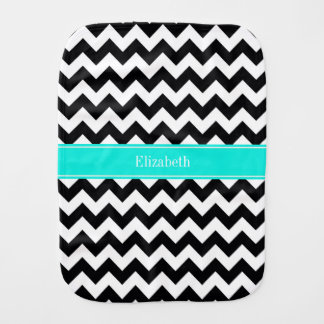Black White Chevron Zig Zag Brt Aqua Name Monogram Burp Cloth