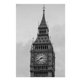 Black White Close up Big Ben Clock Tower London Poster