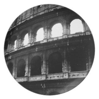 Black White Colosseum Roman Empire Plate