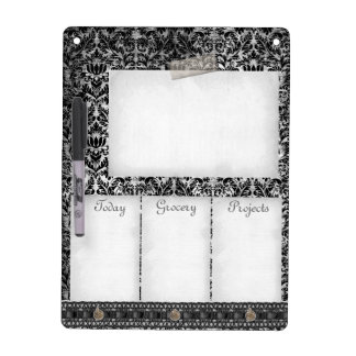 Black White Damask Aged Print Pattern Lace To Do Dry Erase Board