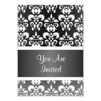 Black & white damask any occasion 4.5x6.25 paper invitation card