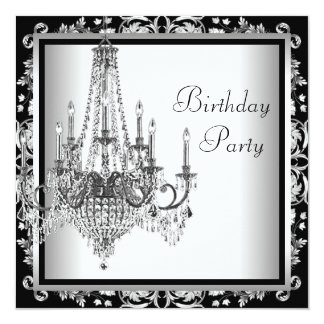 Black White Damask Chandelier Birthday Party 13 Cm X 13 Cm Square Invitation Card