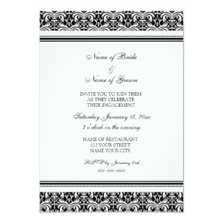 Black White Damask Engagement Party Invitations