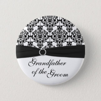 Black, White Damask Grandfather of the Groom Pin