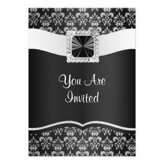 Black & white damask invite