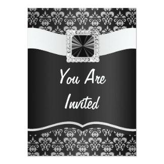 Black & white damask 5.5x7.5 paper invitation card