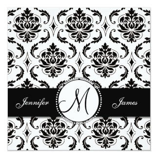 Black White Damask Monogram Wedding Invitation