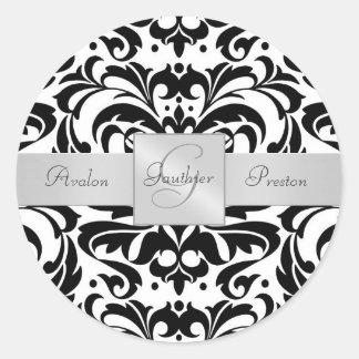 Black & White Damask Monogram Wedding Sticker
