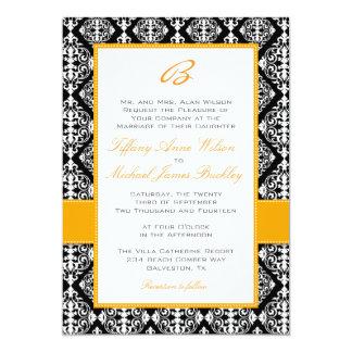 Black white damask orange wedding invitation