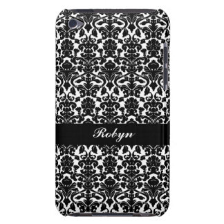 Black white damask pattern custom name personal iPod touch cover