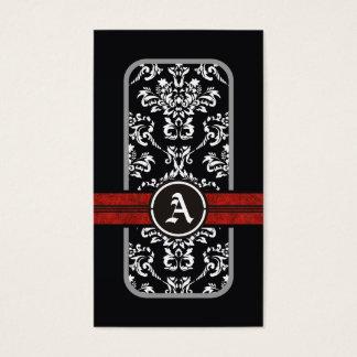 Black white damask red band monogram