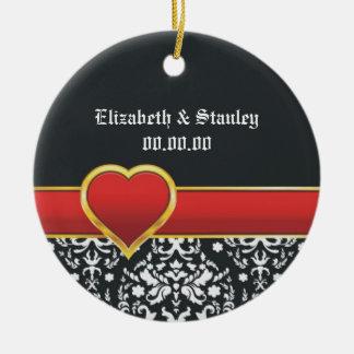 Black white damask red heart wedding Save the Date Round Ceramic Decoration