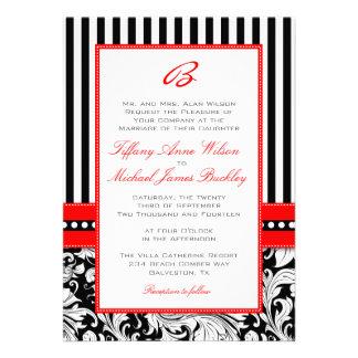 Black white damask red wedding invitation