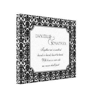 Black white damask wedding personalized canvas art