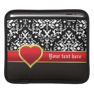 Black white damask with red band and heart sleeves for iPads