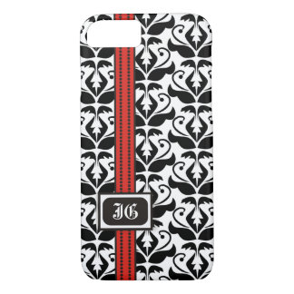 Black white damask with red band and monogram iPhone 7 case
