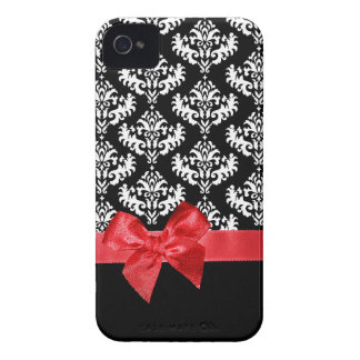 Black & white damask with red ribbon bow graphic iPhone 4 cases