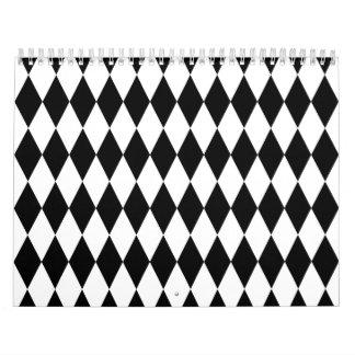 Black & White Diamond Harlequin Pattern Calendars