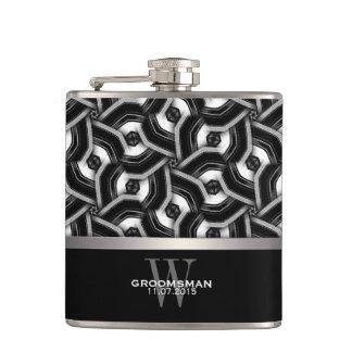 Black White Disc Pattern Groomsmen Gift Hip Fla Flasks