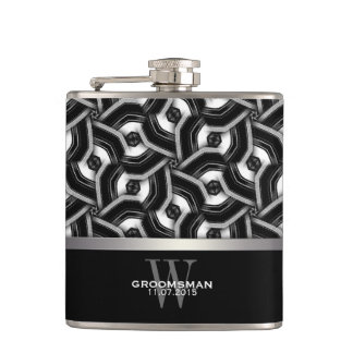Black White Disc Pattern Groomsmen Gift Hip Fla Hip Flask
